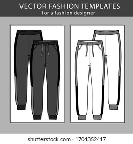 Sweatpants fashion.  Flat sketch Vector templates, jogging trousers, front and back