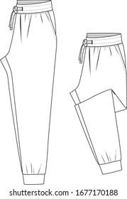 Sweatpants fashion flat sketches. Apparel template