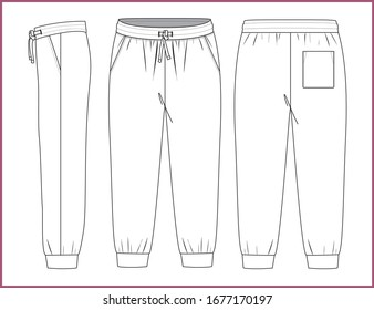 Sweatpants fashion flat sketches. Apparel template