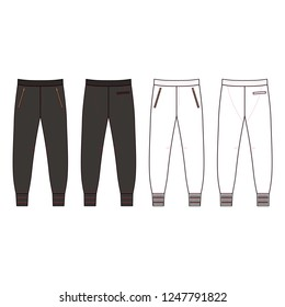 Sweatpants man template (front, back views), vector illustration isolated on background