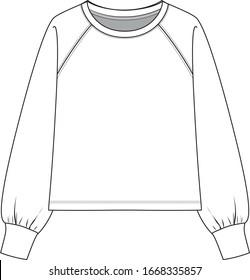 SWEATSHIRT, fashion flat sketch. Long sleeve sweatshirt with a round neckline.