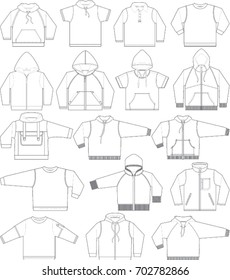 Sweatshirt, hoodie and fleece in black and white, teen apparel vector templates collection