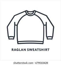 Sweatshirt Raglan Jumper Clothing Minimal Flat Line Outline Stroke Icon Pictogram