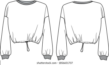 Sweatshirt with regulator, cropped lenght an ribbed cuffs, regulator at the waist