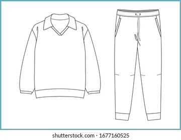 Sweatshirt, sweatpants fashion flat sketches. Apparel template