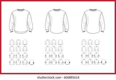 Sweatshirt template different vector models, long sleeve, raglan, pocket, front and back view