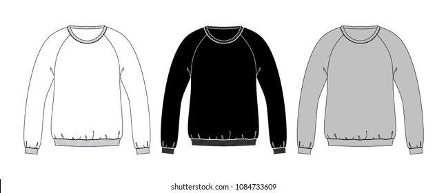 sweatshirts technical sketches with diffrent fit black, white, gray colors