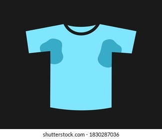 Sweaty t-shirt - wet clothes, garment and apparel after sweating. Stain and smudge in ampit area. Vector illustration isolated on black.