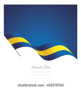 Sweden abstract wave flag ribbon vector background