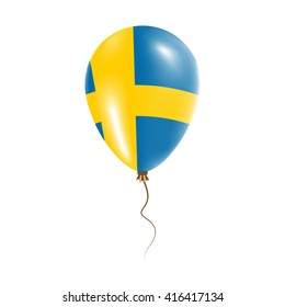 Sweden balloon with flag. Bright Air Ballon in the Country National Colors. Country Flag Rubber Balloon. Vector Illustration.