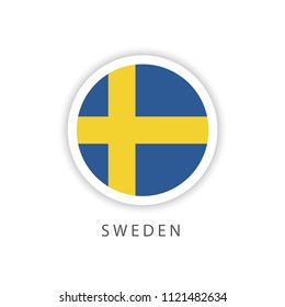 Sweden Button Flag Vector Template Design Illustrator