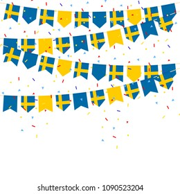 Sweden celebration bunting flags with Confetti And Ribbons on white background.vector illustration