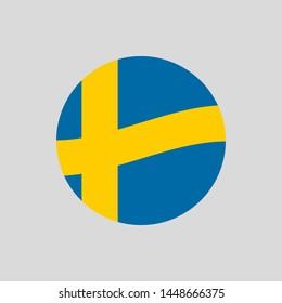 Sweden circle flag icon. Waving Swedish badge. Vector illustration.