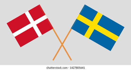 Sweden and Denmark. Crossed Swedish and Danish flags