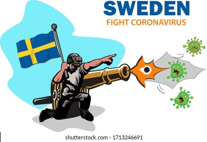 sweden fight coronavirus, Vector illustration of an army battle vs (COVID-19), coronavirus. sweden with cannon weapons against the concept of the corona virus / coronavirus.