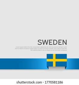 Sweden flag color ribbon on a white background. Background with flag of sweden. Business booklet. State swedish patriotic banner, cover. National poster. Vector flat design