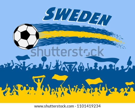 1ec3f7c605b Sweden flag colors with soccer ball and Swede supporters silhouettes. All  the objects