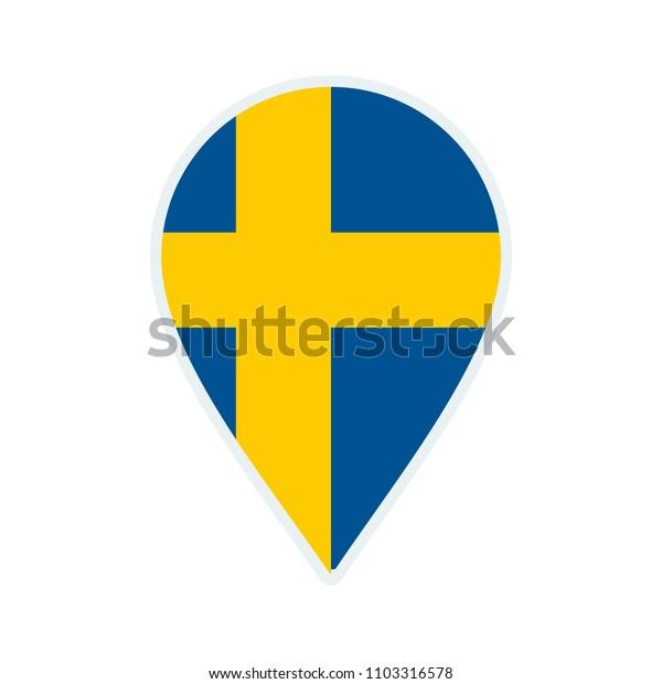 Sweden flag icon. Travel icon. Travel destination of Sweden. Sweden badge. Flag badge.