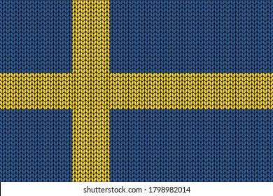 Sweden flag in knitting pattern for the winter season