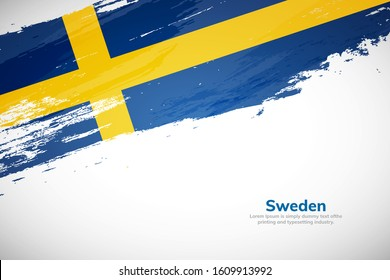 Sweden flag made in brush stroke background. National day of Sweden. Creative Sweden national country flag icon. Abstract painted grunge style brush flag background.