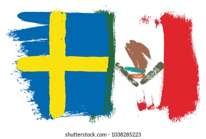 Sweden Flag & Mexico Flag Vector Hand Painted with Rounded Brush
