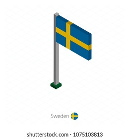 Sweden Flag on Flagpole in Isometric dimension. Isometric blue background. Vector illustration.