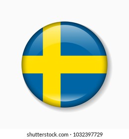 Sweden flag round badge or icon isolated on white background. Vector illustration.