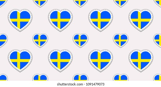 Sweden flag seamless pattern. Vector Swedish flags stikers. Love hearts symbols. Texture for language courses, sports pages, travel, school, geographic design elements. Patriotic wallpaper
