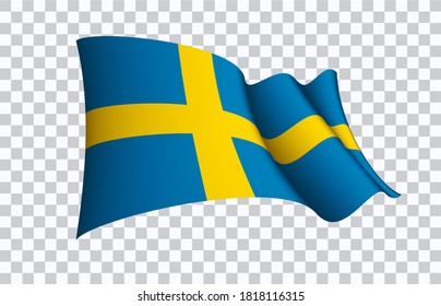 Sweden flag state symbol isolated on background national banner. Greeting card National Independence Day of the Kingdom of Sweden. Illustration banner with realistic state flag.