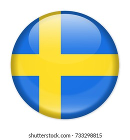 Sweden Flag Vector Round Icon - Illustration