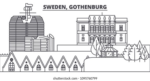 Sweden, Gothenburg line skyline vector illustration. Sweden, Gothenburg linear cityscape with famous landmarks, city sights, vector landscape.