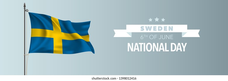 Sweden happy national day greeting card, banner vector illustration. Swedish national holiday 6th of June design element with waving flag on flagpole