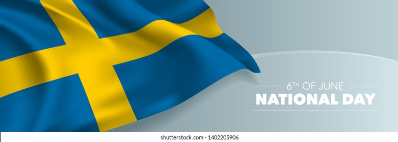 Sweden happy national day vector banner, greeting card. Swedish wavy flag in 6th of June national patriotic holiday horizontal design