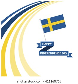 Sweden Independence Day - Swedish National Day Celebration Card, Background, Badges Vector Template