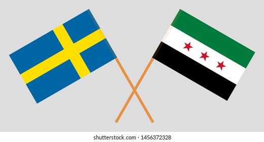 Sweden and Interim Government of Syria. Crossed Swedish and Coalition flags
