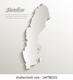 Sweden map card paper 3D natural vector