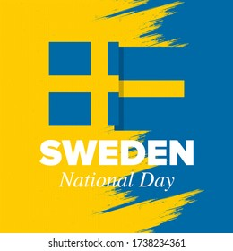Sweden National Day. Celebrated annually on June 6 in Sweden. Happy national holiday of freedom. Swedish flag. Northern Scandinavian country. Patriotic poster design. Vector illustration