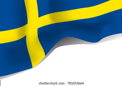 Sweden national waving flag. Symbol of Sverige isolated on white background