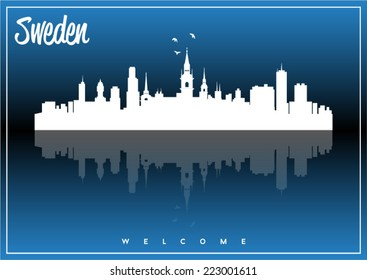 Sweden, skyline silhouette vector design on parliament blue and black background.