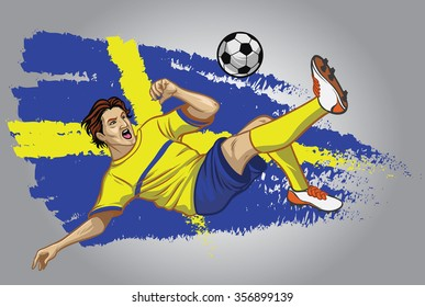 sweden soccer player with flag as a background