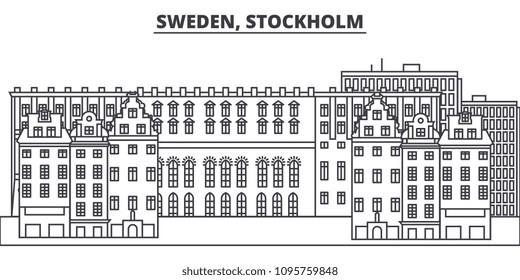 Sweden, Stockholm line skyline vector illustration. Sweden, Stockholm linear cityscape with famous landmarks, city sights, vector landscape.