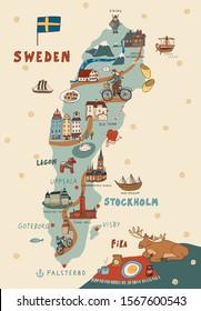 Sweden Stockholm Skandinavia object landmark vector doodle map illustrations set