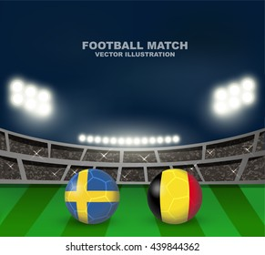 Sweden vs Belgium soccer ball in flag design on stadium background with scoreboard for Europe football qualify. Concept design for match template or banner in vector illustration