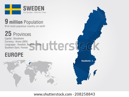 Sweden World Map Pixel Diamond Texture Stock Vector (Royalty Free ...