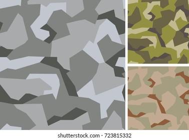 Swedish camouflage geometric seamless pattern. Urban, woodland and desert color scheme.