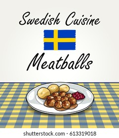 Swedish Cuisine - Vector Meatballs on Plate on Squared Table