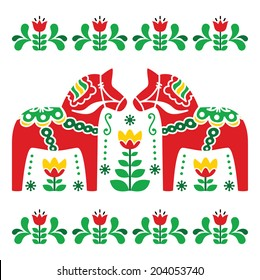 Swedish Dala or Daleclarian horse folk art pattern