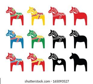 Swedish Dalecarlian, Dala horse vector icons set