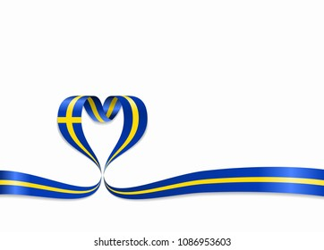 Swedish flag heart-shaped wavy ribbon. Vector illustration.