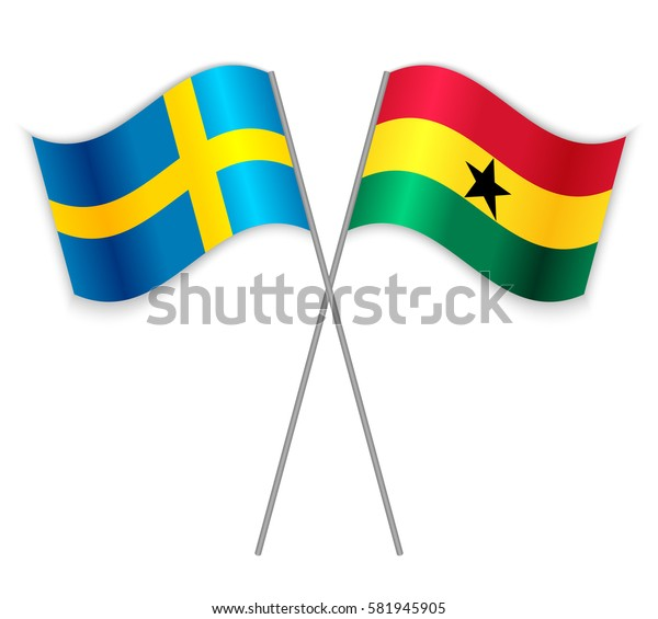 Swedish and Ghanaian crossed flags. Sweden combined with Ghana isolated on white. Language learning, international business or travel concept.